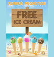 free ice cream wood board sign on sea sand beach vector image vector image