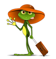 Frog with a suitcase vector image vector image