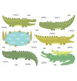 funny crocodiles collection cute alligators in vector image