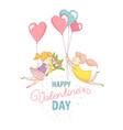 gey women characters flying heart balloons vector image