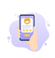 good review icon with phone art vector image