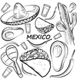 Hand drawn doodle Mexico set vector image vector image
