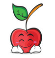 happy face cherry character cartoon style vector image