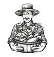 happy farmer holds a wicker basket full fresh vector image vector image