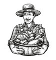 happy farmer holds a wicker basket full of fresh vector image vector image