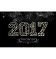 Happy new year 2017 gold line art greeting card vector image