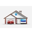 House and red sports car near garage vector | Price: 3 Credits (USD $3)
