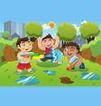 kids playing water gun vector image vector image