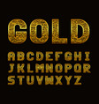 latin alphabet with golden texture vector image