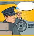 limousine driver inside a car pop art vector image vector image