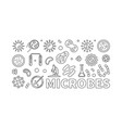 microbes outline banner - concept vector image vector image