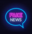 neon fake news sign on brick wall background vector image vector image