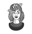 nest chicks on girl head line art sketch vector image vector image