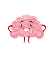 pink humanized brain with smiling face little vector image vector image