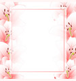 pink lily flower banner card border isolated on vector image vector image
