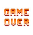 pixel retro computer game over text design vector image vector image