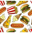Pizzas burgers hot dogs drinks seamless pattern vector image vector image