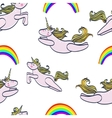 seamless pattern with magic unicorn and rainbow vector image vector image