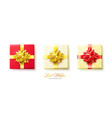 set gifts boxes with golden and red bows and vector image