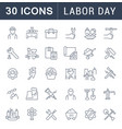 set line icons labor day vector image