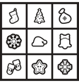 Set of flat icons in black and white Christmas vector image vector image