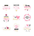 set of valentines day typography lettering logo vector image