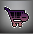 shopping cart with remove sign violet vector image vector image