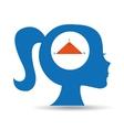 silhouette head girl school geometri vector image