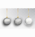 silver christmas tree toy set isolated vector image vector image