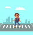 smiling boy at crosswalk on urban city background vector image