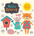 spring card with cute animals vector image vector image