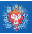 stylized Japanese macaque and snowflakes vector image vector image