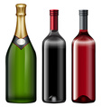 Three bottles of alcohol drink vector image