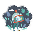 tiny man with photocamera in his vector image vector image