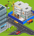urban construction isometric composition vector image vector image