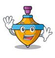 waving spinning top character cartoon vector image