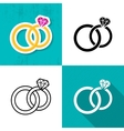wedding rings icons vector image
