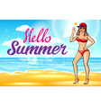 woman in hat on the beach Hello summer sun girl vector image vector image