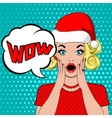 wow bubble woman in christmas hat vector image