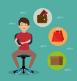 young man in the office chair with set business vector image