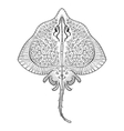 Zentangle Stingray totem for adult anti stress vector image vector image
