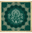 Indian god elephant Ganesha vintage card vector image