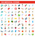 100 medical icons set isometric 3d style vector image vector image