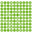 100 space technology icons hexagon green vector image vector image
