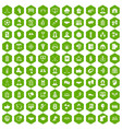 100 team icons hexagon green vector image vector image