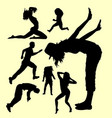 action male and female gesture silhouette vector image