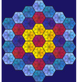 Blue hexagonal stained-glass window vector image vector image