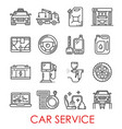 car service tools and transport thin line icons vector image