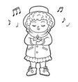 coloring book for children girl singing a vector image vector image