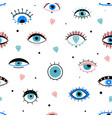 eye doodles seamless pattern hand drawn various vector image vector image